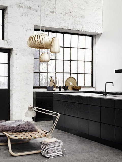 modern kitchen with black
