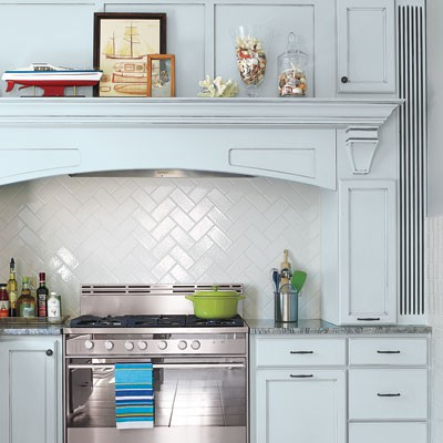 herringbone tile splashback