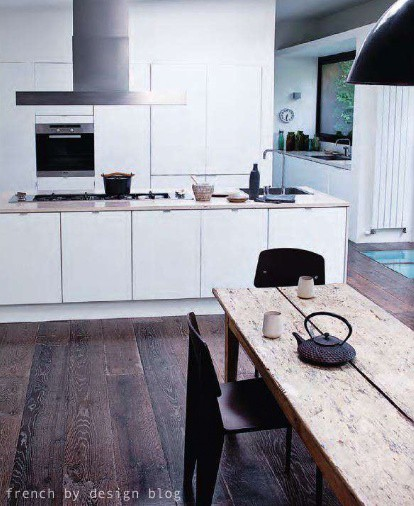 white kitchen with timber floors