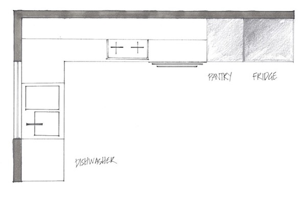 L shape kitchen plan