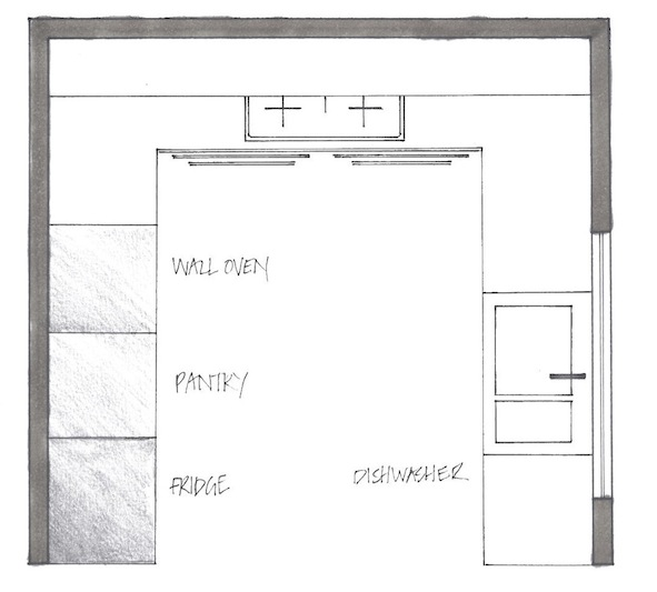 U shape kitchen plan