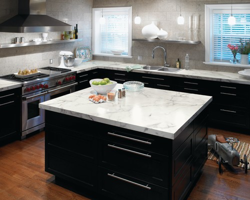 laminate bench top in calcutta stone