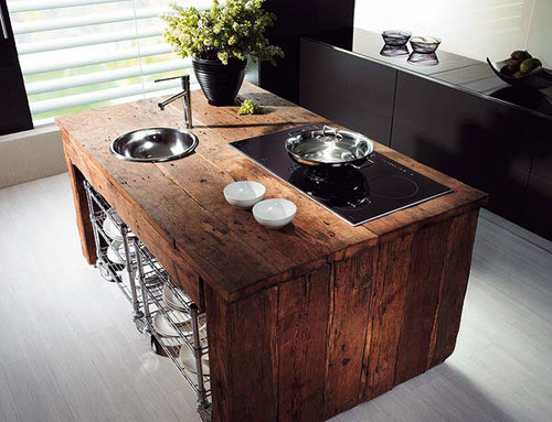 timber counter top in the kitchen