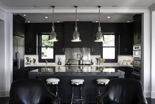 black and stainless steel kitchen