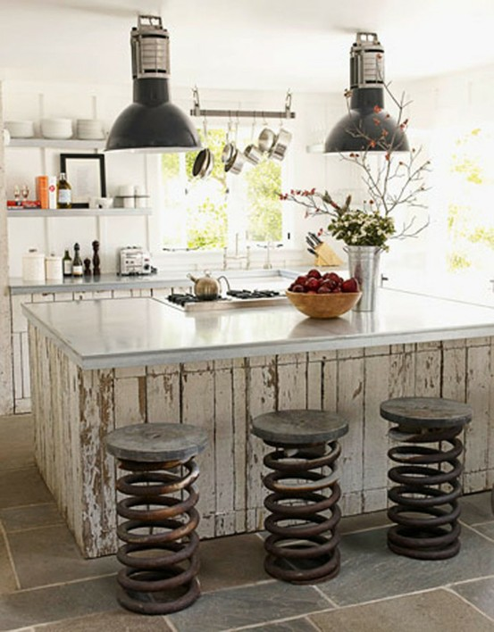 kitchen island with unique chair