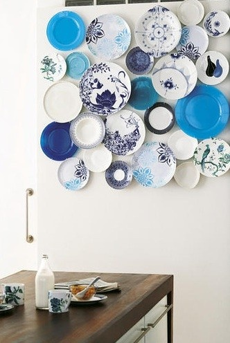 blue kitchen plates