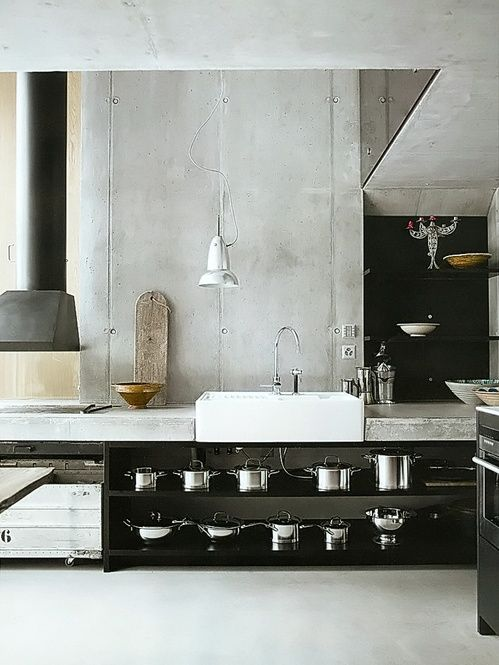 kitchen with concrete and black