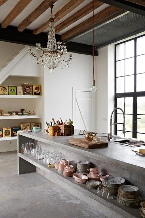 concrete kitchen island open shelves