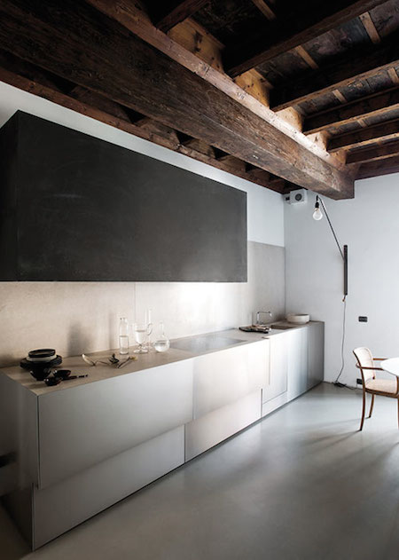 minimal kitchen with concrete splash back