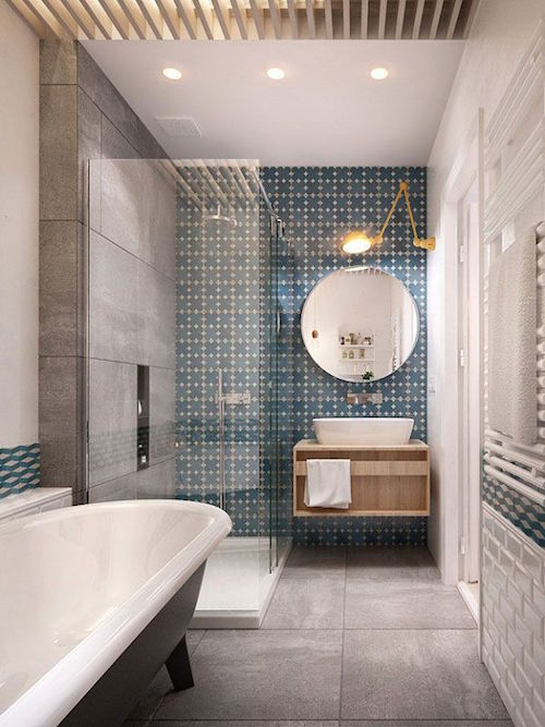 modern bathroom layout with feature wall