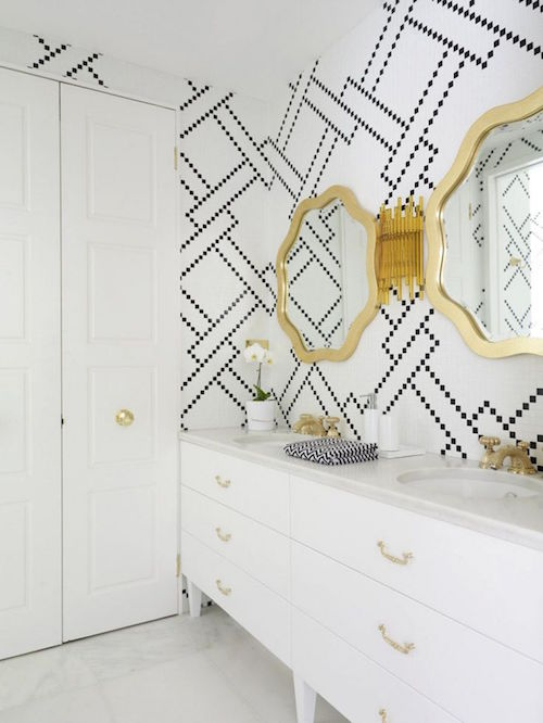 trendy modern bathroom with patterned tiles