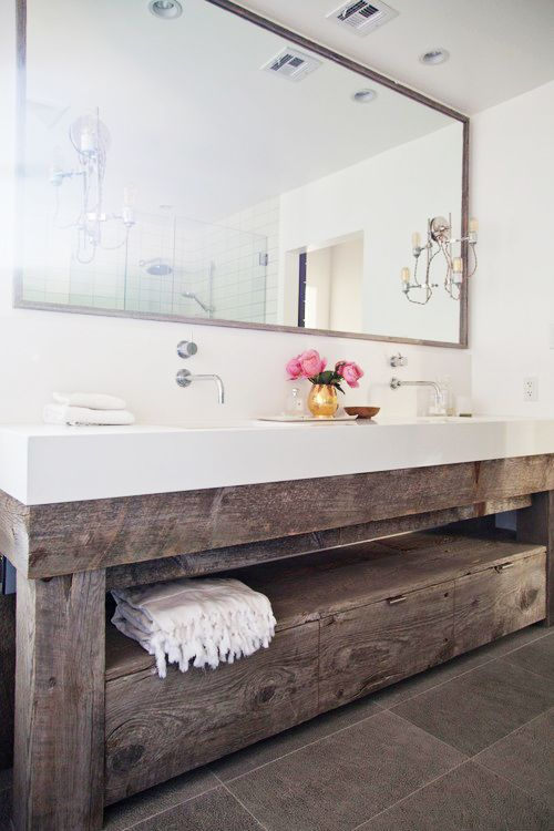modern bathroom with rustic vanity