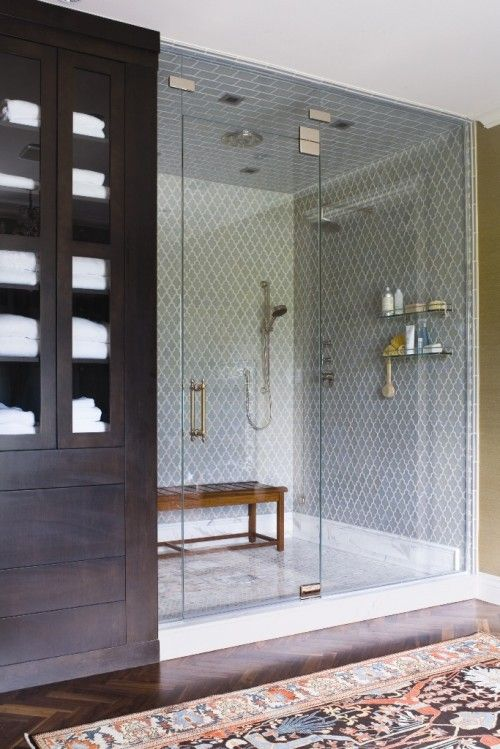 shower alcove in modern bathroom