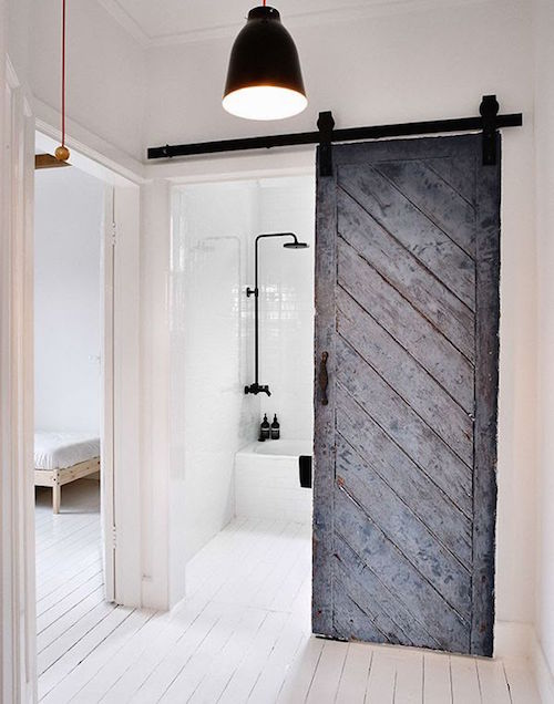 Charmant Barn Door In Modern Bathroom