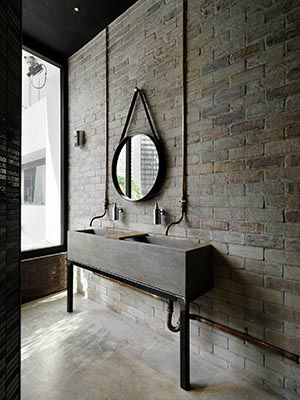 brick wall: texture in bathroom