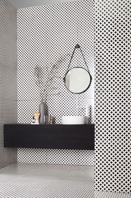 modern bathroom with patterned tiles