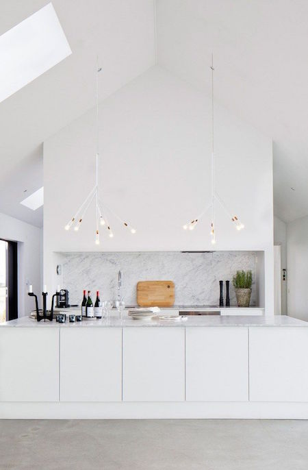 white kitchen modern lighting