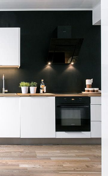 Scandinavian kitchen with black