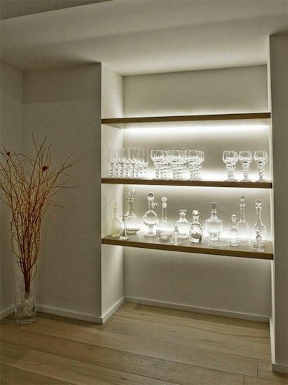 kitchen shelf LED feature lighting