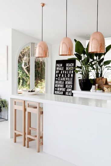 kitchen pendant lighting in copper