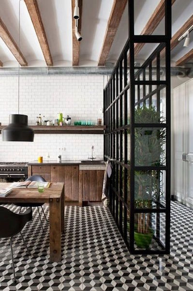 industrial kitchen featuring open shelves