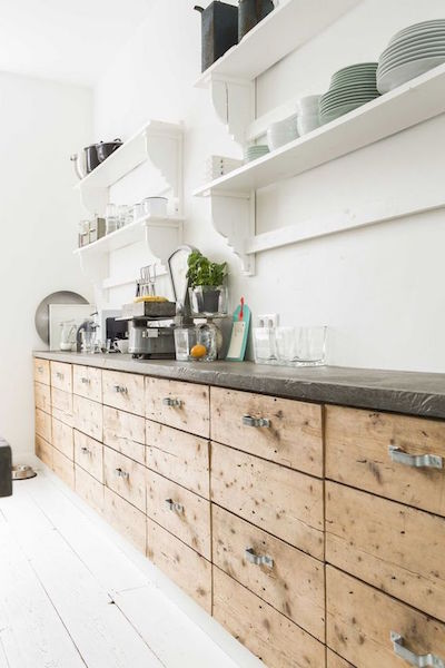 swedish industrial kitchen with unusual shelves