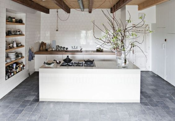 tiled island in white, kitchen trend for 2016