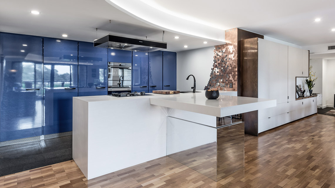 Blue Kitchen with Adjustable Kitchen Island | Blue Tea