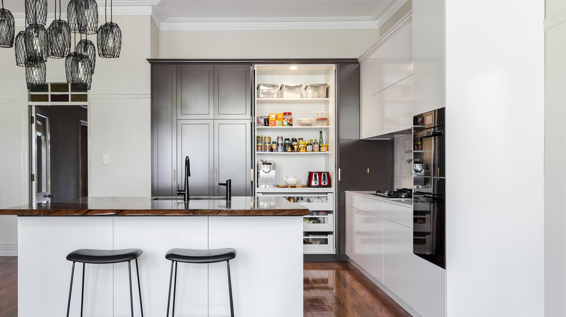 pantry feature in shaker kitchen