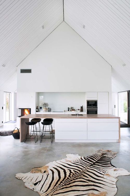 white modern kitchen in farm style house
