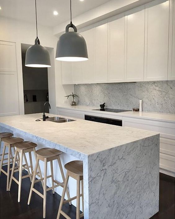 Carrara marble feature kitchen island