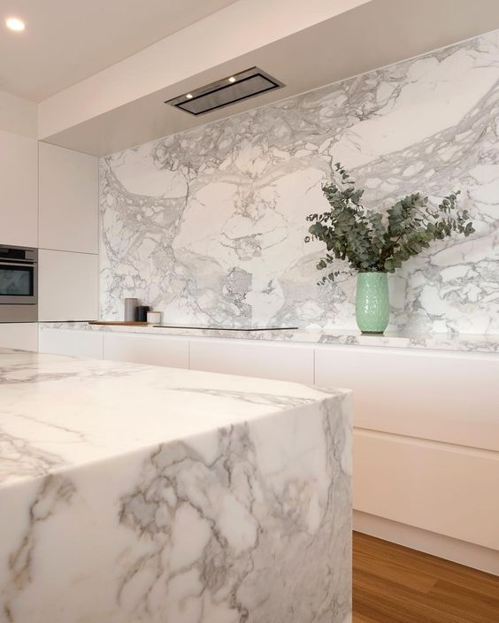 Calacatta Marble Splashback and island bench top